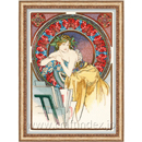 Girl with Easel after A. Mucha's Artwork